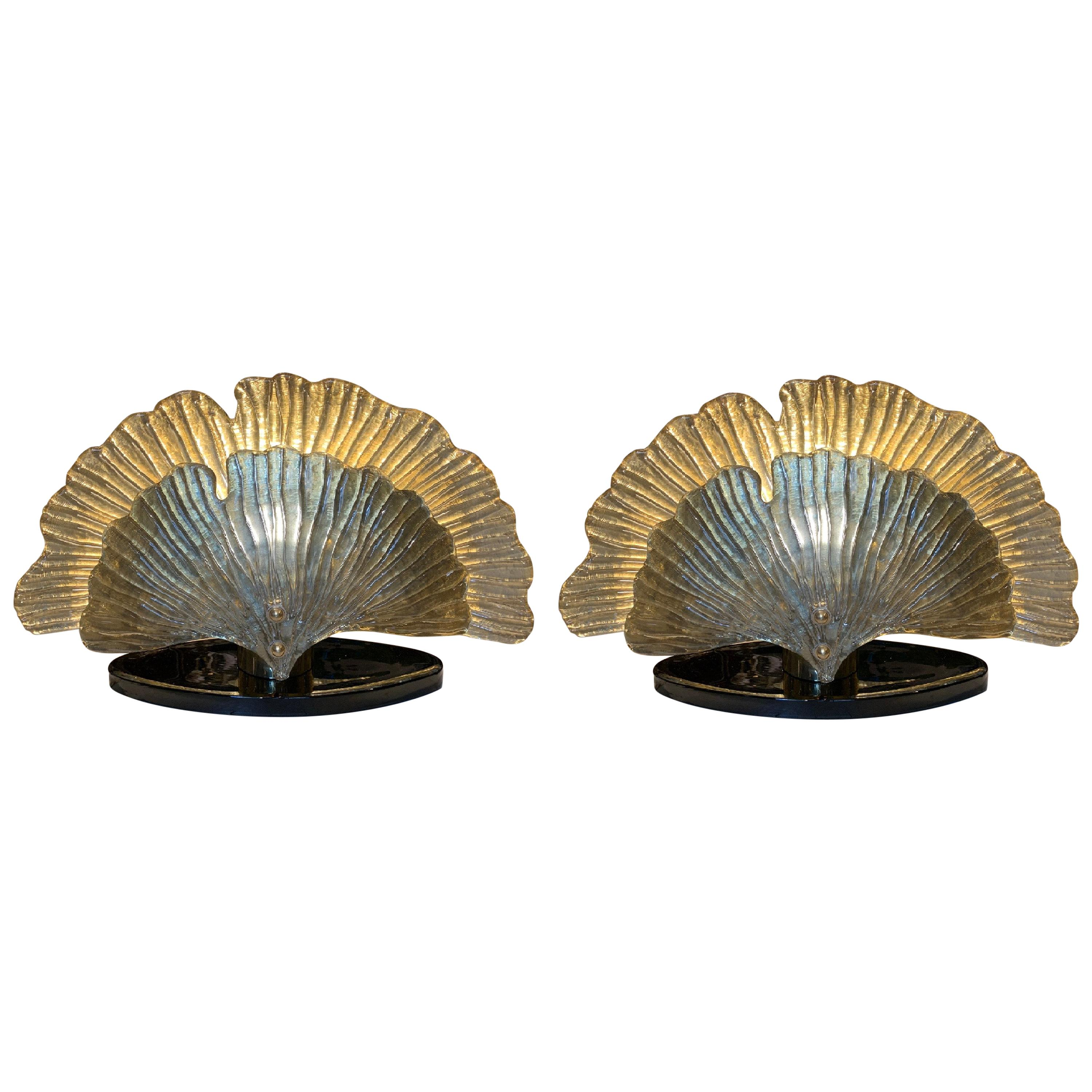 Pair of Italian Mirrored Murano Glass Table Lamps Ginkgo Leaves Shape, 1980s