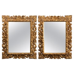 Pair of Italian Mirrors in Carved Wood, 19th Century