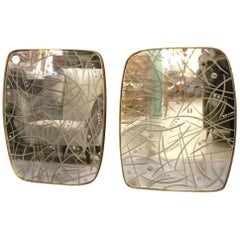 Pair of Italian Mirrors with Etched Glass Decorations and Brass Frame