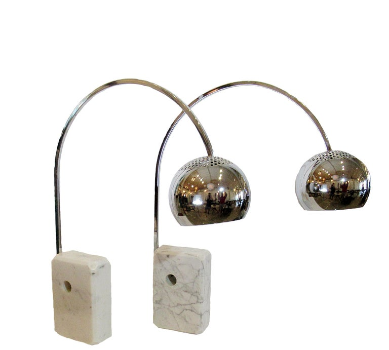 Mid-Century Modern Pair of Italian Modern Arco Table Lamps, Achille Castiglione For Sale