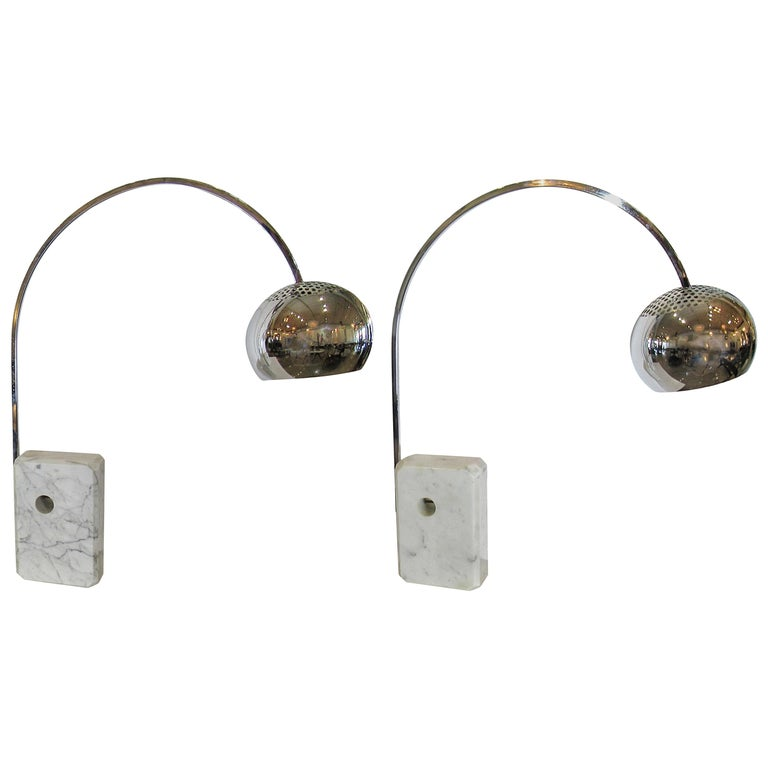 Pair of Italian Modern Arco Table Lamps, Achille Castiglione For Sale
