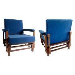 Pair of Italian Modern Walnut Armchairs, ISA, attributed to Gio Ponti