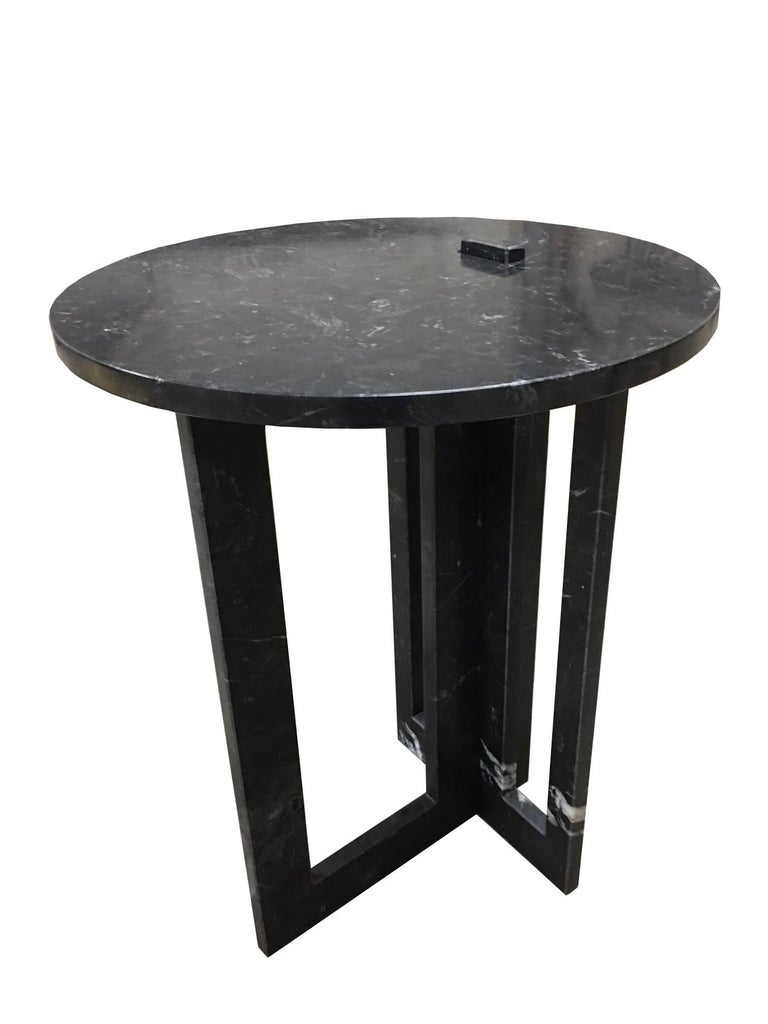 Hand-Crafted Pair of Italian Modern Black Marble Side Tables by Massimo Mangiardi For Sale