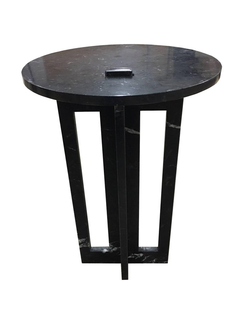 Pair of Italian Modern Black Marble Side Tables by Massimo Mangiardi In Excellent Condition For Sale In New York, NY