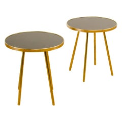 Pair of Italian Modern Brass Tables on Brass Legs with Black Glass Tops
