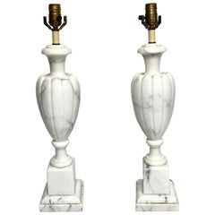Pair of Italian Modern Carrera Marble Lamps