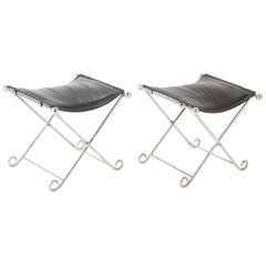 Pair of Italian Modern Chromed Iron X Stools with Black Leather Upholstery