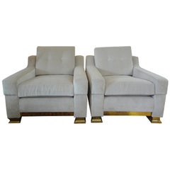 Pair of Italian Modern Cube Chairs with Brass Bases