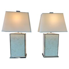 Pair of Italian Modern Herringbone Pieced Bone and Chrome Table Lamps