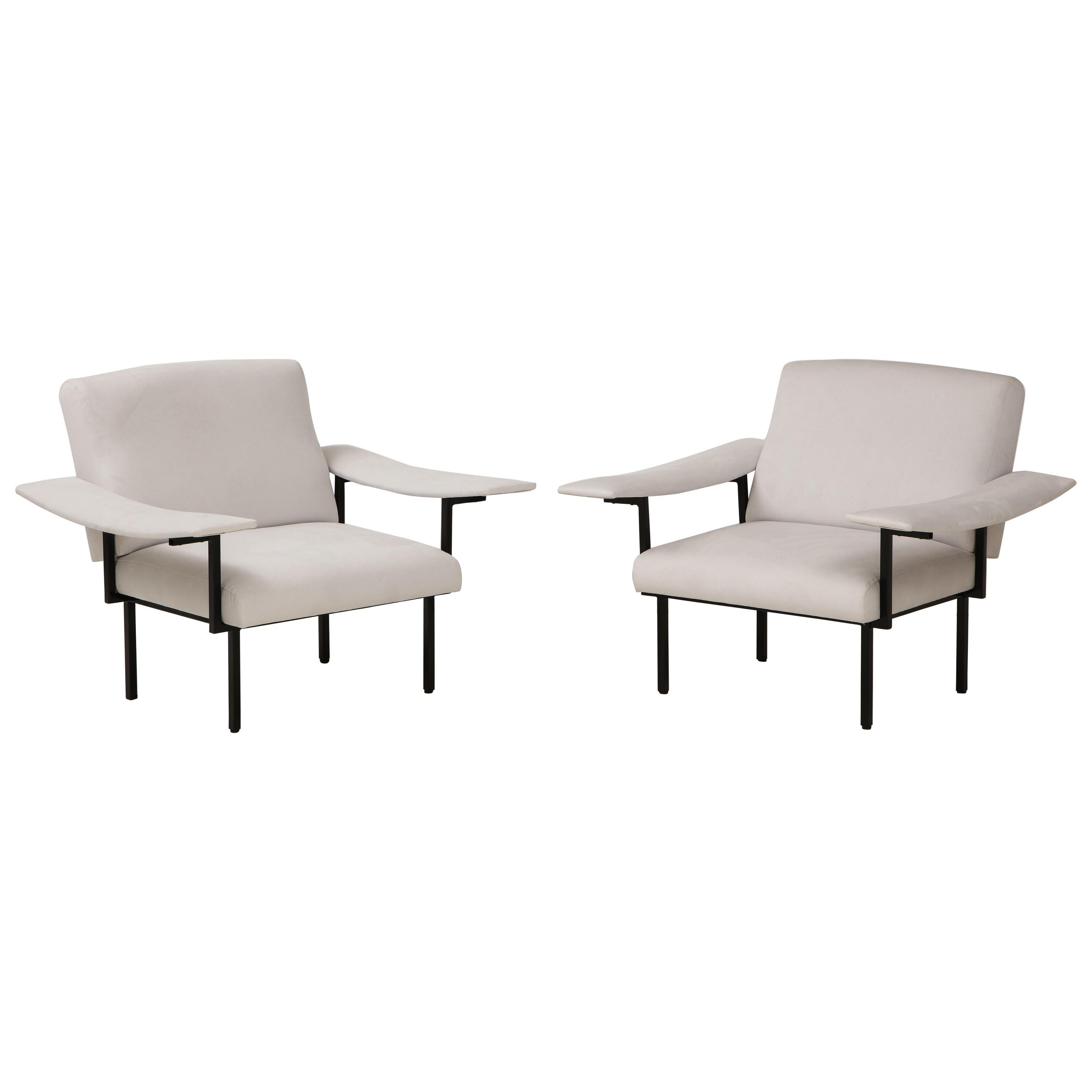 Pair of Italian Modern Iron Upholstered Armchairs