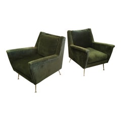 Pair of Italian Modern Lounge Armchairs, Style of Gio Ponti