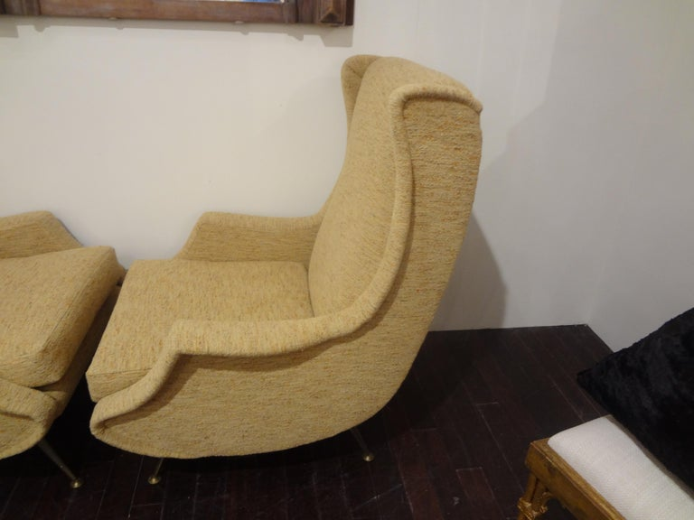 Mid-Century Modern Pair of Italian Midcentury Lounge Chairs Inspired by Minotti For Sale
