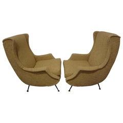 Pair of Italian Mid-Century Lounge Chairs Inspired by Minotti