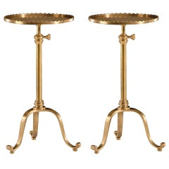 Pair of Italian Modern Neoclassical Adjustable, Brass Side Tables