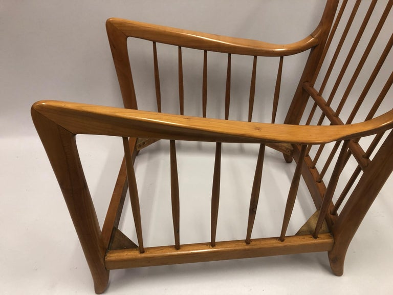 Pair of Italian Modern Neoclassical Cherrywood Armchairs by Paolo Buffa For Sale 1