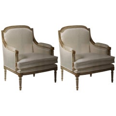 Pair of Italian Modern Neoclassical Louis XVI Style Lounge Chairs, Maison Jansen