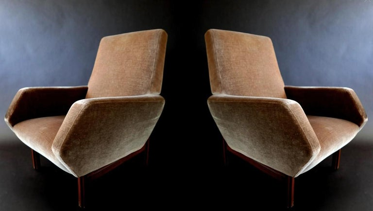 Pair of Italian Modern Prototype Chairs, 1960s, Gianfranco Frattini In Good Condition For Sale In Miami, FL