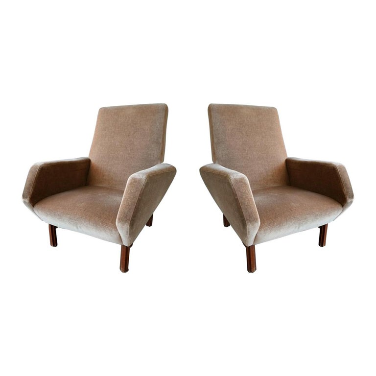 Pair of Italian Modern Prototype Chairs, 1960s, Gianfranco Frattini For Sale