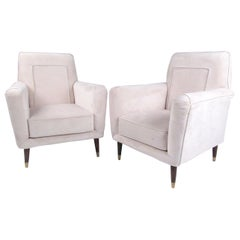 Pair of Italian Modern Upholstered Armchairs