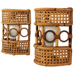 Rattan and Woven Wicker Italian Modern Wall Sconces, Pair