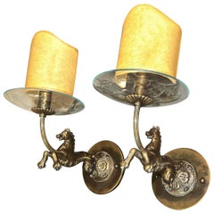 Pair of Italian Moderne Bronze Horse Sconces