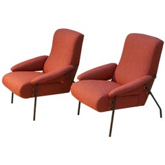 Pair of Italian Modernist 1960s Lounge Chairs in Burned Orange