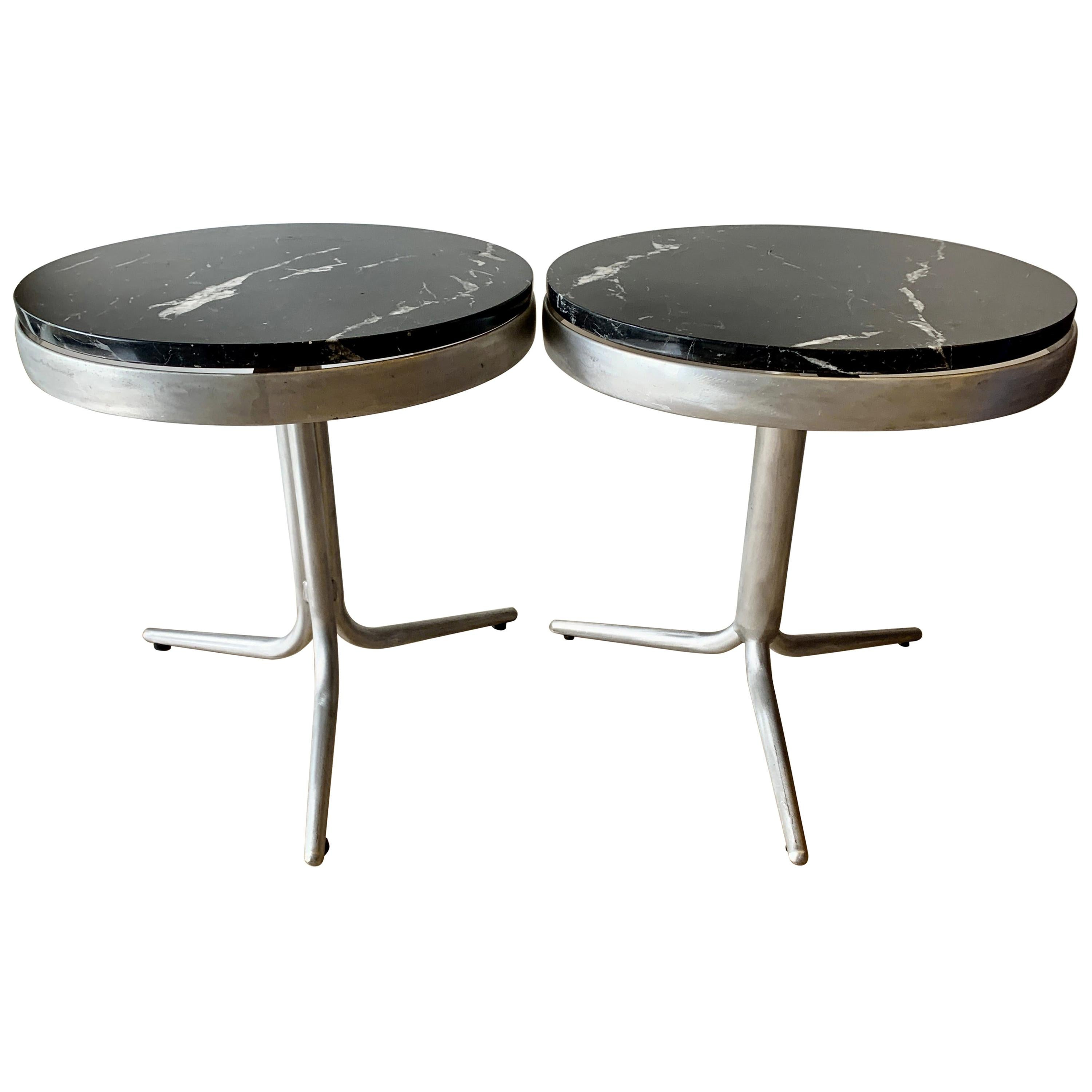 Pair of Italian Modernist Aluminum Side Tables with Marble Tops