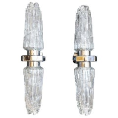 Pair of Art deco Ice Glass Chrome Double Wall Lights Sconces