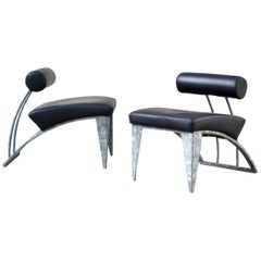 Pair of Italian Modernist Galvanized Steel and Leather Lounge Chairs