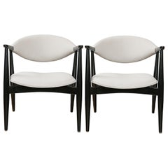Pair of Italian Modernist Lacquered Armchairs
