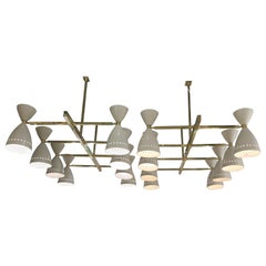 Pair of Italian Modernist Light Fixtures in Brass with Ivory Shades