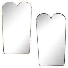 Pair of Italian Modernist Scalloped Shaped Brass Mirrors
