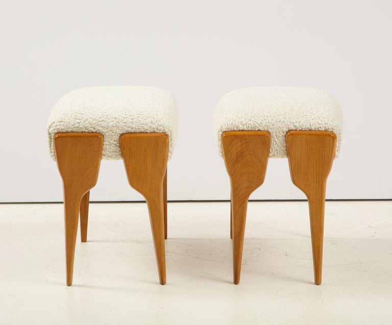 Mid-20th Century Pair of Italian Modernist Stools For Sale