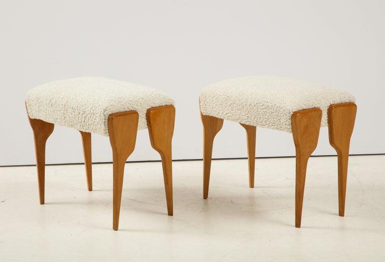 Beech Pair of Italian Modernist Stools For Sale