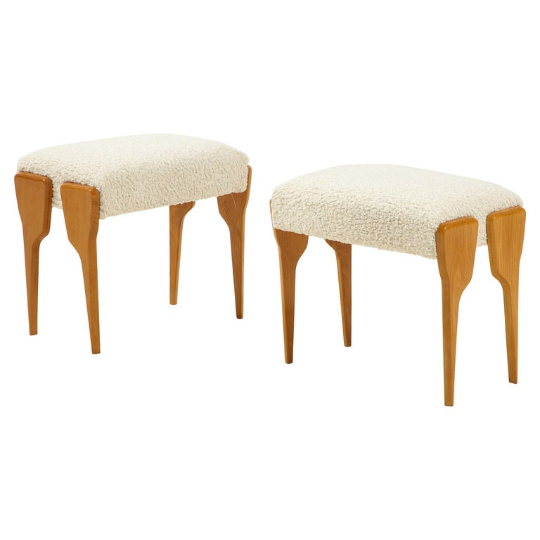 Pair of Italian Modernist Stools For Sale