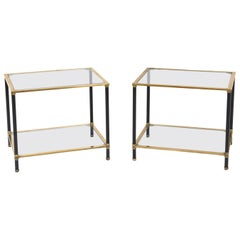 Pair of Italian Modernist Two Tier Side Tables