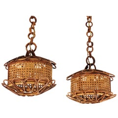Pair of Italian Modernist Wicker Wire & Rattan Pendants / Hanging Lights, 1950s