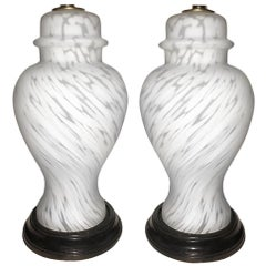 Pair of Italian Molded Glass Table Lamps