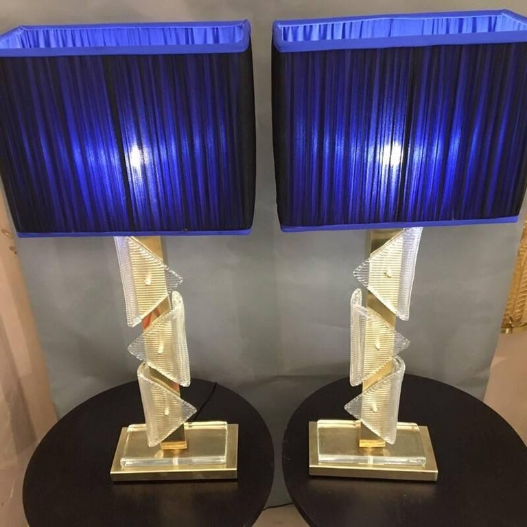 Pair of Murano clear glass and brass lamps with handcrafted double color silk chiffon (royal blue inside and blue black outside) new lampshades.