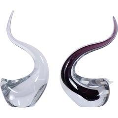 Pair of Italian Murano Dove Art Glass Sculptures