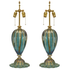 "Pair of Italian Murano ""FENICIO"" Gold Dusted and Swirl Aqua Colored Glass Lamps"