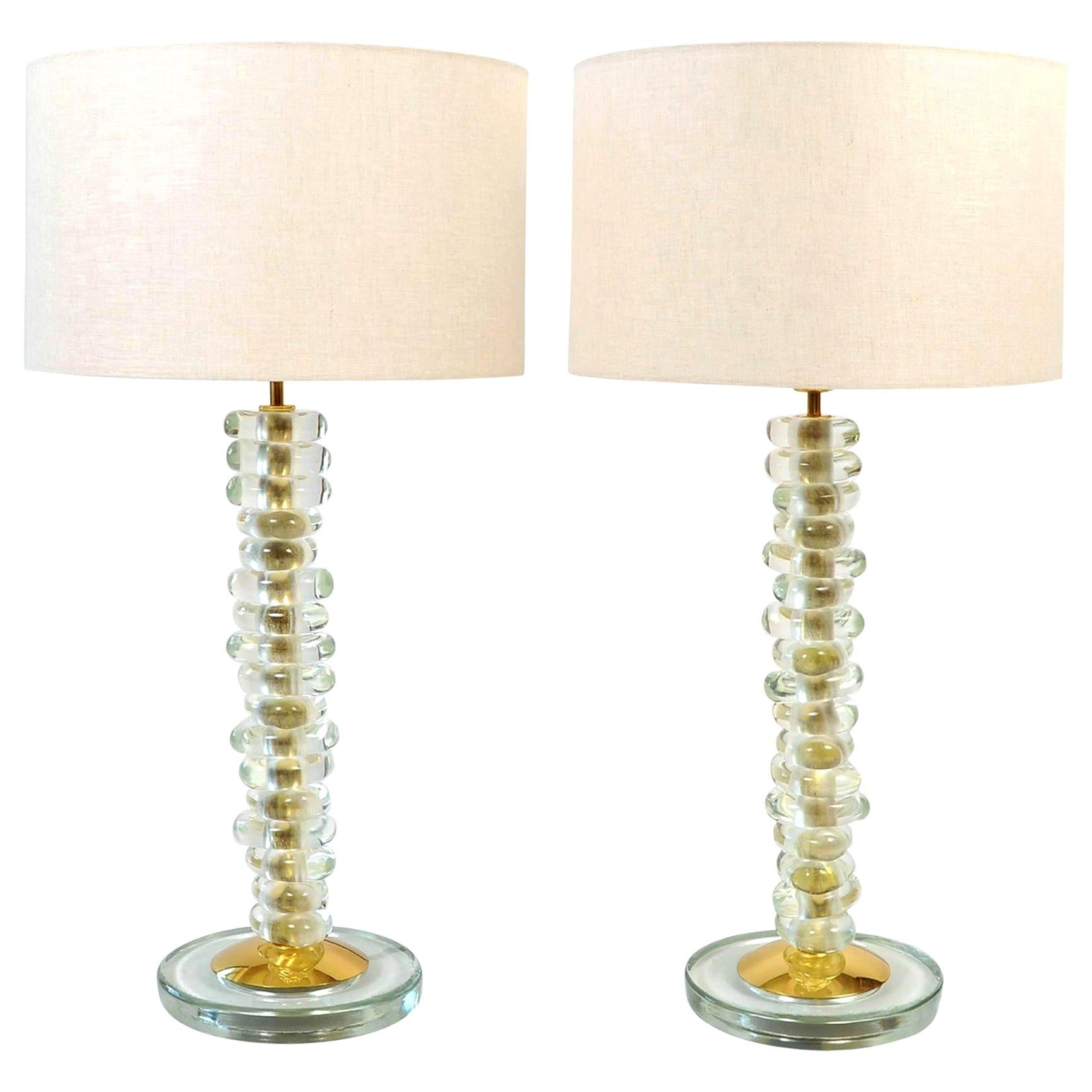 Pair of Italian Murano Glass and Brass 'Pebble' Lamps