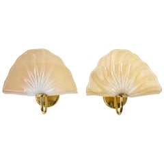 Pair of Italian Murano Glass and Brass Wall Light Sconces by Vetri Murano