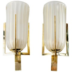 Pair of Italian Murano Glass and Brass Wall Light Sconces