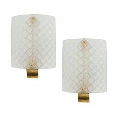 Pair of Italian Murano Glass & Brass Sconces