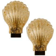 Pair of Italian Murano Glass Brass Sea Shell Sconces, Italy, 1960