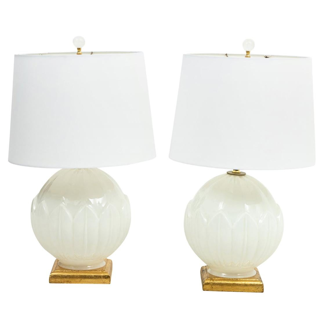 Pair of Italian Murano Glass Bulb Shaped Table Lamps