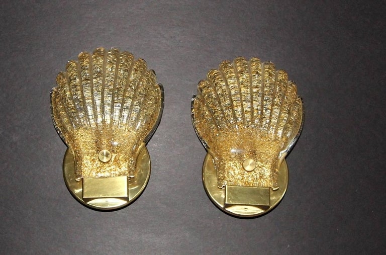 Brass Pair of Italian Murano Glass Clam Shaped Wall Sconces For Sale