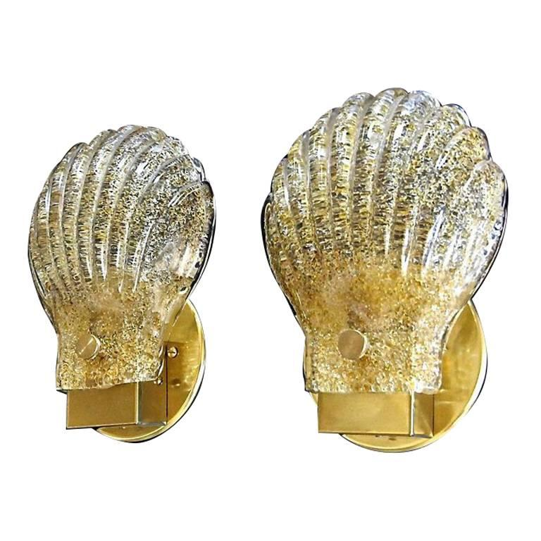 Pair of Italian Murano Glass Clam Shaped Wall Sconces For Sale