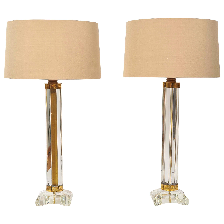 Pair of Italian Murano Glass 'Column' Lamps